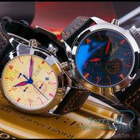 JARAGAR New 2015  Luxury Watches Allochroic Glass 6 Hands Watch Mens Mechanical Sport Stell Wristwatch Free Shipping