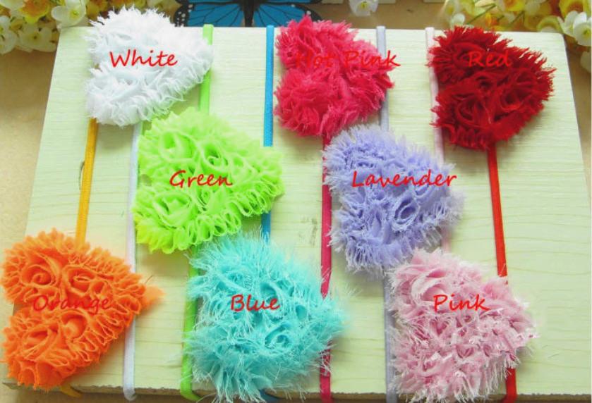 30pcs*8 colors Baby Girls Heart Shaped Shabby Flowers Headbands 3 inch Elastic Bands Chiffon Headbands Children Hair Accessories(China (Mainland))