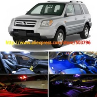 Free Shipping 8 Lights LED Interior Package Combo Kit High Power LED Dome Lights For Honda Pilot SUV 2003-2008