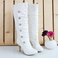 free shipping Princess high-heeled gauze button solid color high-leg 2013 boots winter boots martin boots