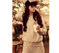 Winter 100% cotton casual sports sweatshirt set thickening loose women's sports baseball uniform