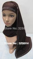 2013 New Style Solid Rhinestones Concise,Elegance Muslim Hijab,Islamic Scarfs,Rhinestones Hoodie Muffler Free Shipping