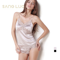 Mulberry silk lace cutout spaghetti strap top shorts twinset spaghetti strap women's summer silk sleepwear
