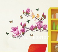 Wholsale The 3D Magnolias Large removable wall sticker,Photo wall,the television background wall ,Safe non-toxic,Free shipping