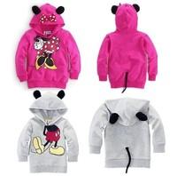 Wholesale 2color boys girls long sleeve hoodies Mickey Minnie cartoon top kids tee shirts 2-6age 5pcs/lot free shipping