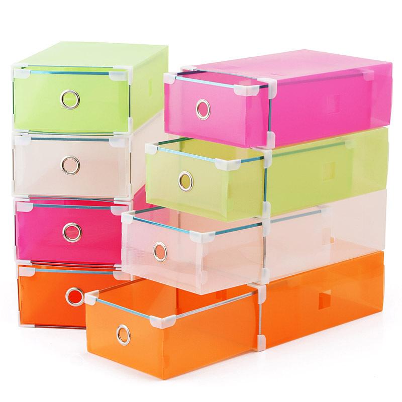 Caixa de armazenamento de sapatos espessamento plástico caixa de sapatos de metal gaveta bainha caixa de sapato de cristal transparente(China (Mainland))