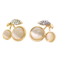Fashion 18K Gold Plated Cherry Earring With Round Cat Eye Stone Earring Leaf Earring