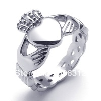 RA-121914 SilverStainless Steel Ring Celtic Claddagh Heart Crown Lovers Engagement ring romantic U.S. Size 6 7 8 9 10 11 12 13
