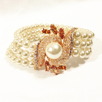 NEW ARRIVE EEL Two kinds of color pearl bracelet gold web design shopping party FREE SHIPPING
