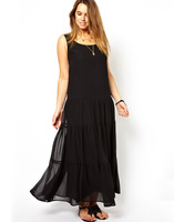 Haoduoyi sleeveless o-neck loose-waisted skirt sweep chiffon one-piece dress