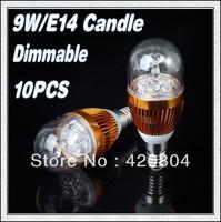 Wholesale   10Pcs/lot  E14/E27  9W White/Warm white High Power LED Bulb Lamp Candle Light Energy Saving AC85-265V Free Shipping