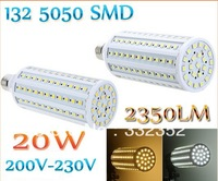 High Power 20W E27 132pcs 5050 SMD led 2350LM 360 degree LED Corn Lighting Bulb Lamp 200-230V Warm White or White light lamp