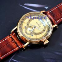 Auto Mechanic Hand-Wind Men Luxury Gold Skeleton Hollow Brown Leather Strap Mens Watch WristWatch Goer G12