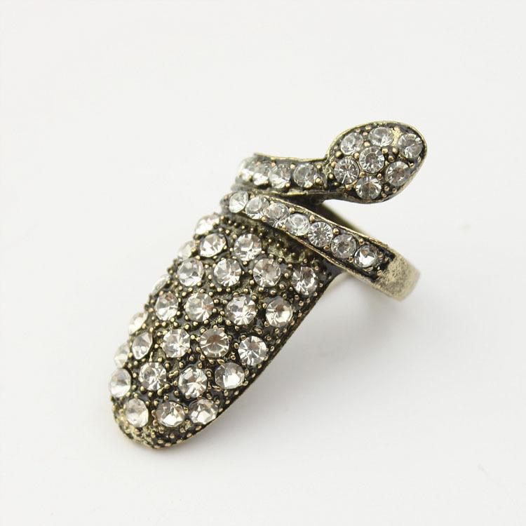 Big size Full Crystal stone Viper nail Ring Punk Cool charms Nail Sets Jewellery Finger Rings(China (Mainland))