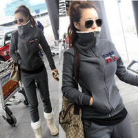 2013 winter and autumn velvet thickening plus size sweatshirt set Women NY berber fleece outerwear casual sport suit