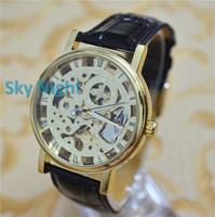 2014 Winner Automatic Mechanic Self-wind Men Luxury Gold Skeleton Hollow Brown Leather Strap Mens Watch WristWatch Winner G11