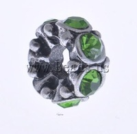 Free shipping!!!Zinc Alloy European Beads,Wholesale Jewelry, Rond, without troll & with rhinestone, nickel, lead & cadmium free