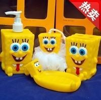 Free ship SpongeBob cartoon bathroom suite bathroom set bathroom toiletries Bathroom Products Bath balls bath cans soap dish