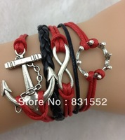Free Ship!6pcs/lot!New Fashion Leather Silver Alloy Anchor Infiity Imperial Crown Mixed Charms Lobster Clasp Bracelet K-705