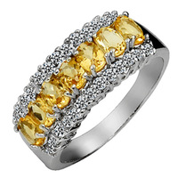 Silver platinum natural yellow crystal ring classic fashion elegant