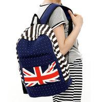2014 Brief dot backpack female double-shoulder canvas school bag casual street flag backpack student bag