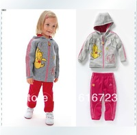 Free shipping 2013 girl teddy bear sports leisure suit fleece suit