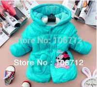Retail 100% cotton Girls Cartoon Minnie design thick Outwear (1PCS/lot) Children's coat
