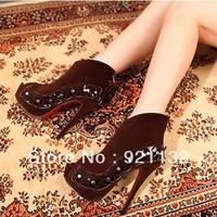 G996-2 Vintage Gladiator Style Peep-toe Side Clover Rivets High-heeled Pumps Raider Ankle Boots Black/Brown