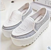 2013 casual platform shoes single shoes round toe color block decoration genuine leather skull platform canvas shoes
