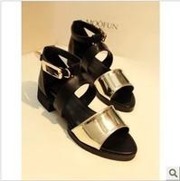 2013 fashion color block decoration flat open toe hasp flat heel sandals female
