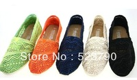 FREE SHIPPING NEW Women's Classics Neon Crochet Hollow out EVA flat pattern stripes canvas flat  shoes