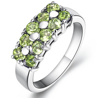 Volcano 925 pure silver natural peridot ring crystal female lovers sr0138p