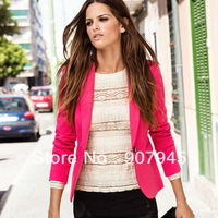 Free shipping women's blazers with fashion notched collar full sleeve one deduction single breasted solid slim suit D115