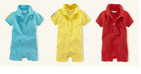 2014 POLO lapel boys short sleeves clothes Children's clothes baby Infants  rompers Sky blue,red, 3pcs/lot