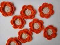 wholesale 50pcs/lot crochet flower appliques multicolors for beadband scrapbooking sewing trim bow boutique DIY