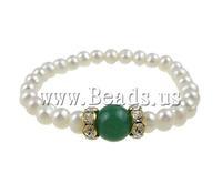 Free shipping!!!Freshwater Cultured Pearl Bracelet,Jewelry For Men, Cultured Freshwater Pearl, with Jade & Rhinestone & Brass