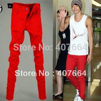 2014 autumn men jeans slim pencil pants male skinny pants red trousers boys men plus size jeans 25 28 to 33, 34, 36