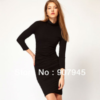 Free shipping fashion pleated nine points sleeve knee-length slim black one-piece dress plus size womens clothing C038