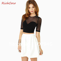 Free shipping women T-shirt with guaze patchwork rouder neck half sleeve solid black short women top fashion sexy wholesale D150