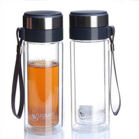 Double layer glass cup g102-280 transparent glass portable 280ml cups with lids belt colander