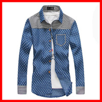 2013 F / W New Arrival   Europe and America     Men's Personality  Printing  Denim Long-Sleeve Shirt G1446