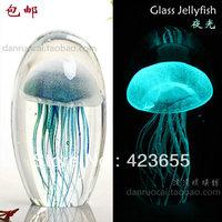 Glass crafts family pack gift wedding gift decoration colored glaze luminous jellyfish ball small night light
