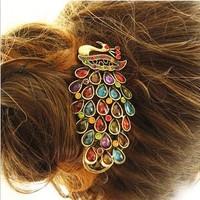 Free shipping,Min order 15$ (Mixed order) Wholesale Trendy Vintage Elegant Peacock Spread Tail Rhinestone Barrette Clip Headwear