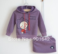 1Set retail Free Shipping Girl's Purple Cartoon Print Garment Suit,Girl's Hoodies+Skirt Suit 5 size for choice