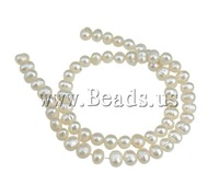 Free shipping!!!Potato Cultured Freshwater Pearl Beads,Jewellery, natural, white, 6-7mm, Hole:Approx 0.8mm, Length:15 Inch