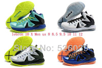 FREE Shipping 2013 cheap lebrons 10 X shoes for sale men basketball p s elite galaxy blue true red gold white green black yellow