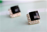 Min.order is $15 (mix order)Luxury Fashion Black Stones Crystals Earrings Stud Women Earrings Free Shipping(Black) C72