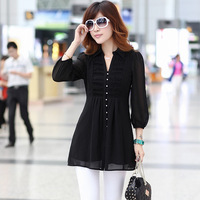 High quality 2013 summer middle-aged long-sleeved shirt and long cardigan chiffon new high quality free shipping Free shipping