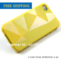 Free Shipping Wholesale 12pcs Per Lot Tpu Multicolor Mobile Phone Shell for IPhone4 4S High Quality  Case for Apple 4S