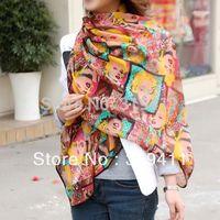 Big Size  ! 2013 classic Monroe scarf  Women chiffon grid silk scarf lady soft neckerchief shawl SC0314